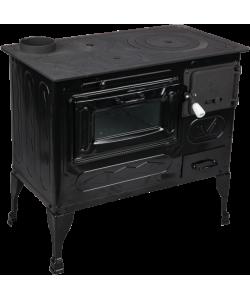 Soba pe lemne cu plita si cuptor Tip A 80x44x75 cm, negru,cos dreapta